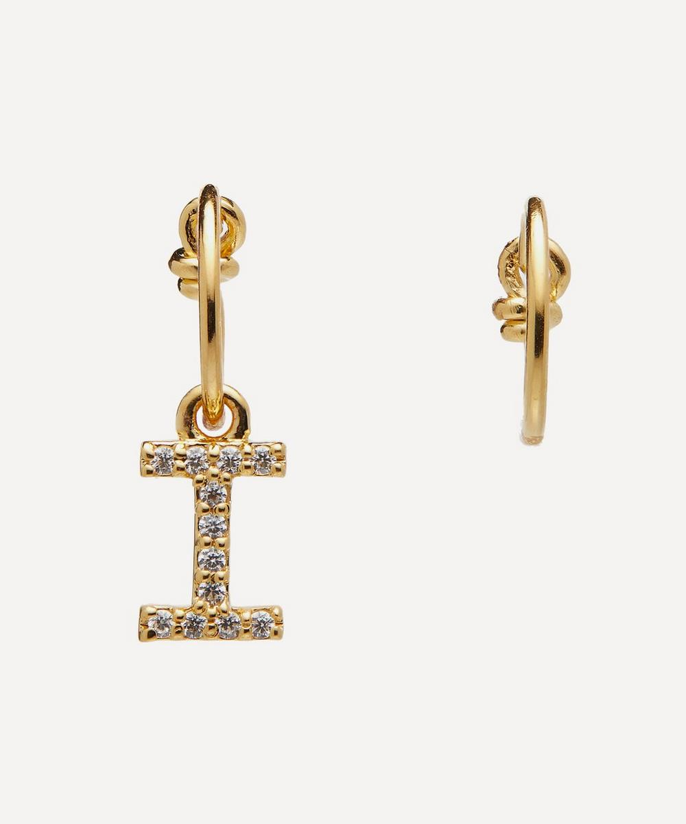 Theodora Warre - Gold-Plated Zircon Letter I Mismatched Hoop Earrings