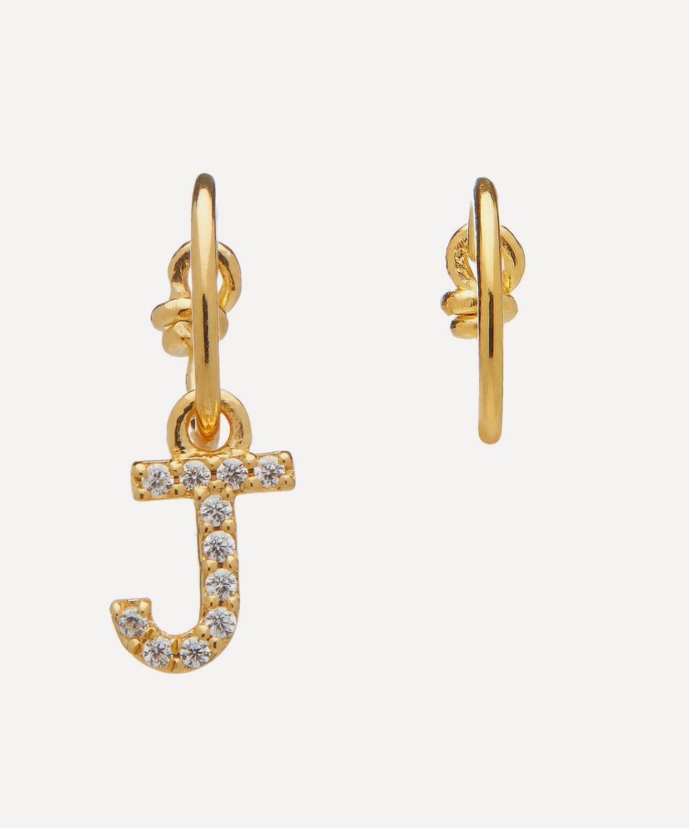 Theodora Warre - Gold-Plated Zircon Letter J Mismatched Hoop Earrings