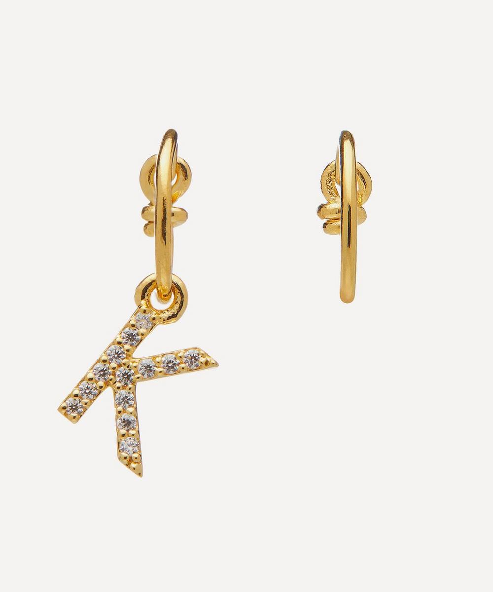 Theodora Warre - Gold-Plated Zircon Letter K Mismatched Hoop Earrings
