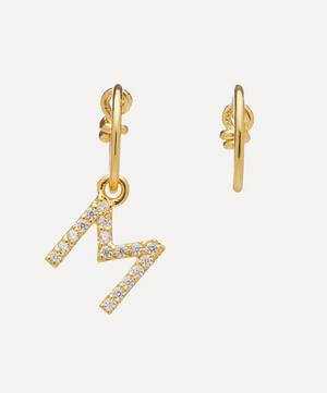 Gold-Plated Zircon Letter M Mismatched Hoop Earrings