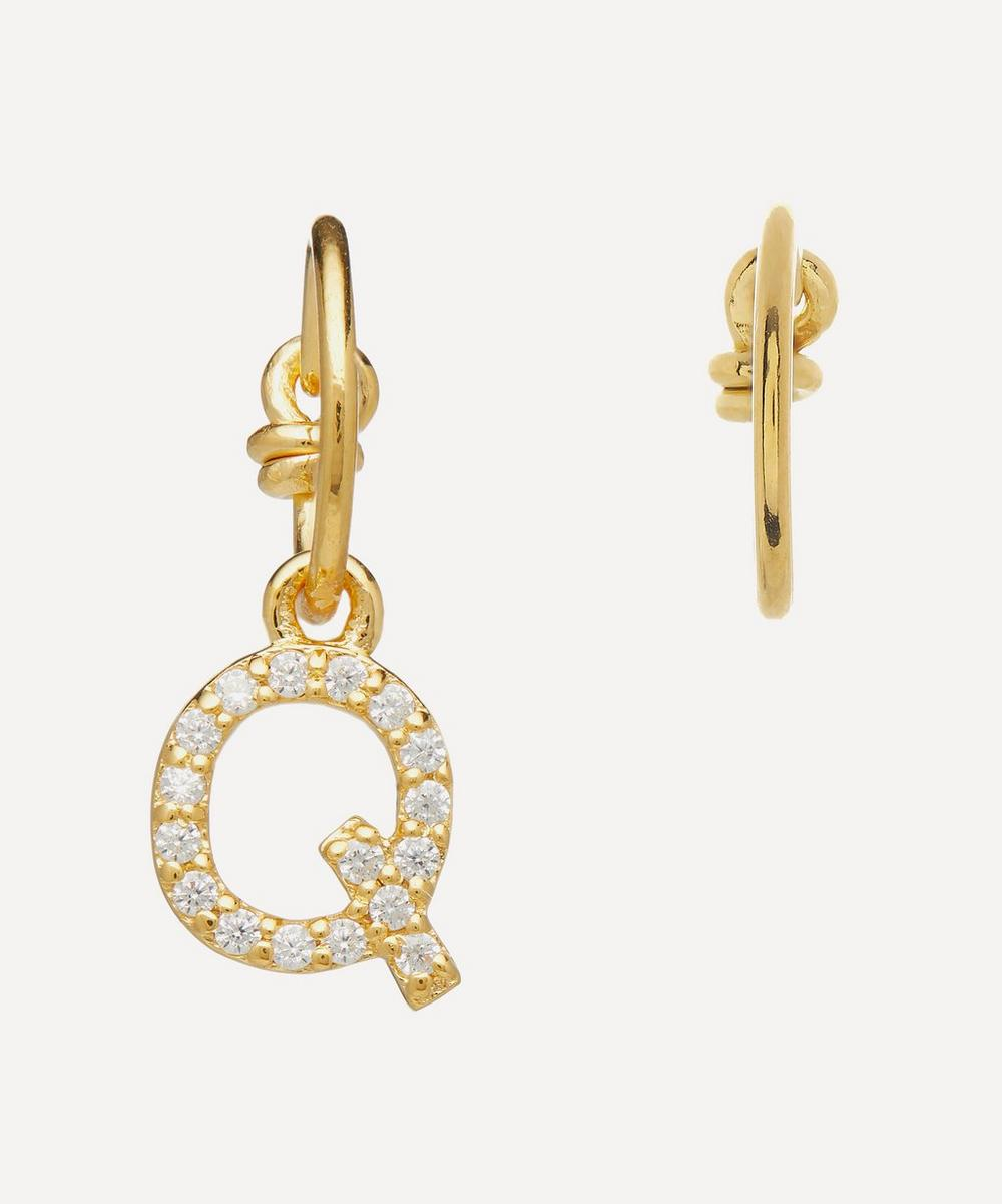 Theodora Warre - Gold-Plated Zircon Letter Q Mismatched Hoop Earrings