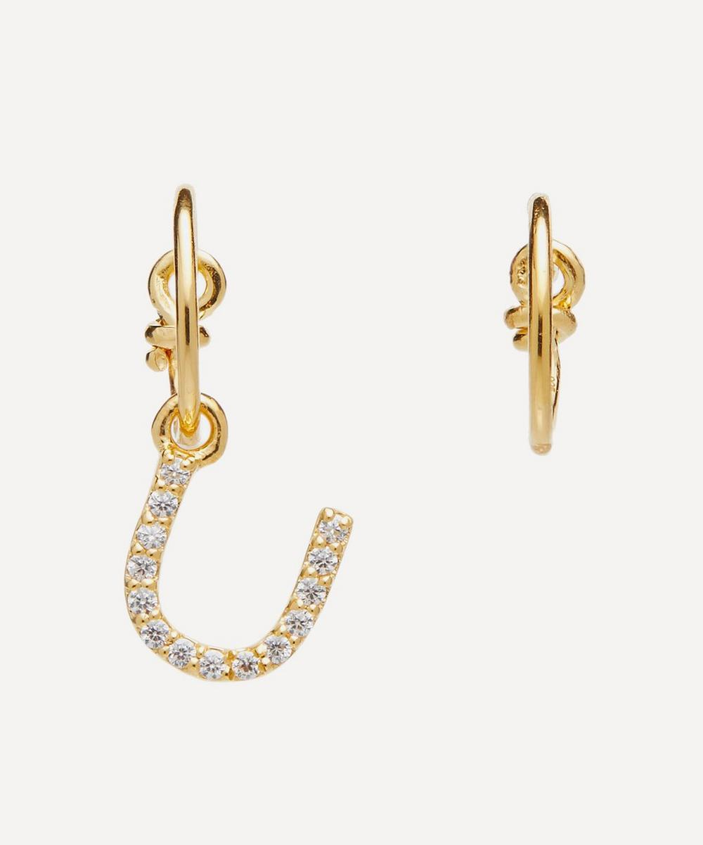 Theodora Warre - Gold-Plated Zircon Letter U Mismatched Hoop Earrings