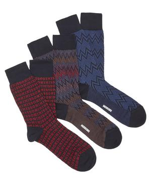 Pack of Three Zig-Zag Socks