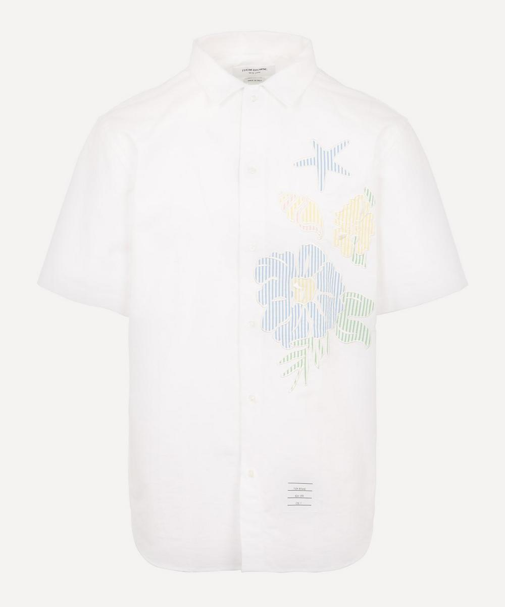 Thom Browne - Floral Applique Cotton Oxford Shirt