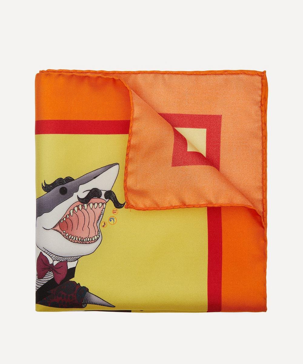 Simon Carter - Shark Print Pocket Square