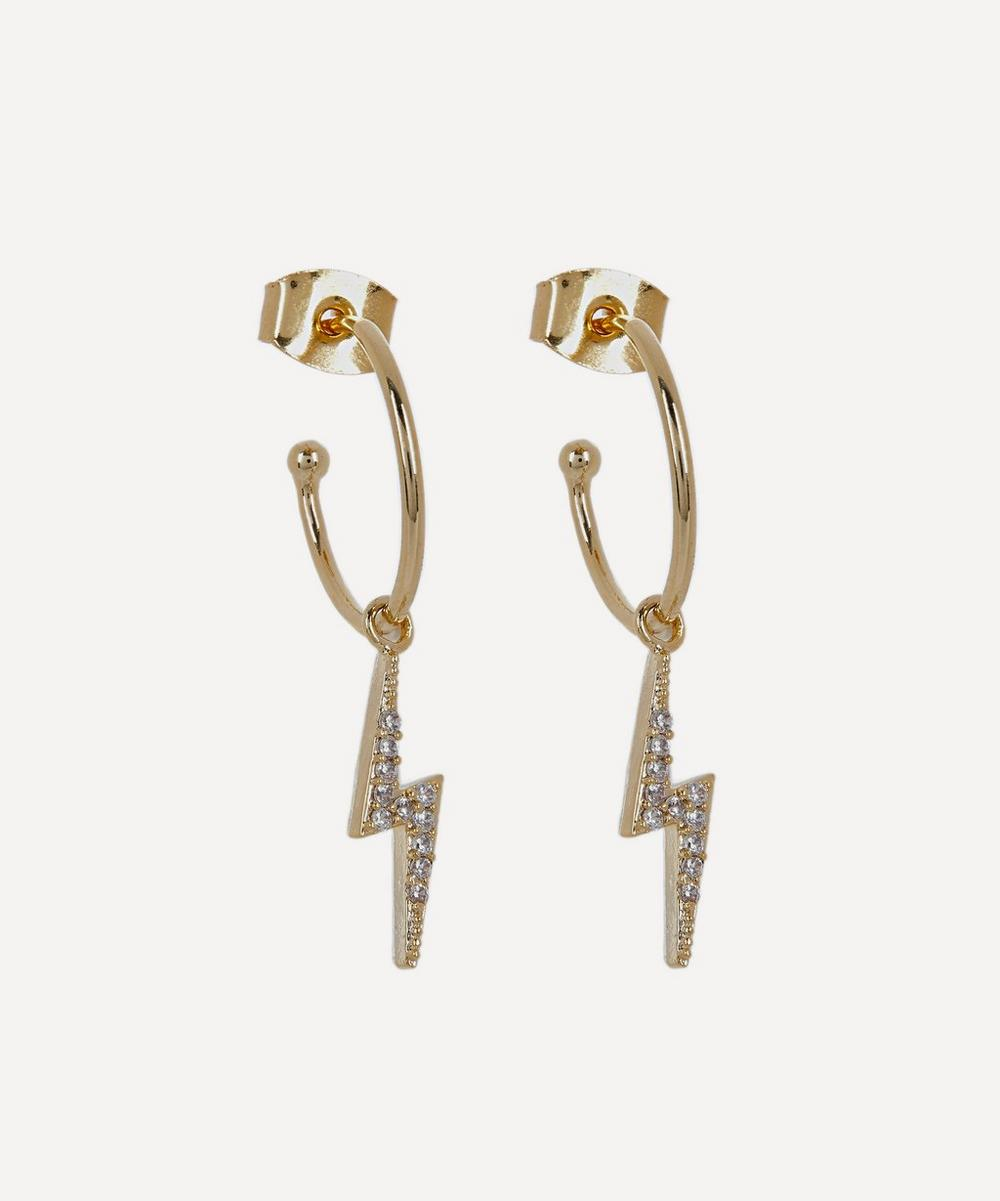 Estella Bartlett - Gold-Plated Cubic Zirconia Lightning Bolt Drop Hoop Earrings
