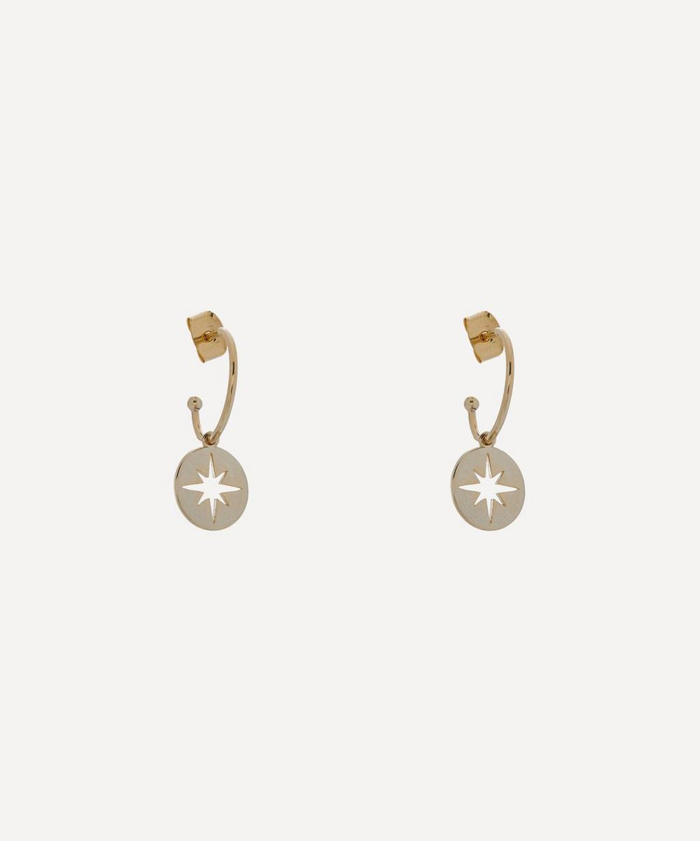 Estella Bartlett - Gold-Plated Starburst Disc Drop Hoop Earrings
