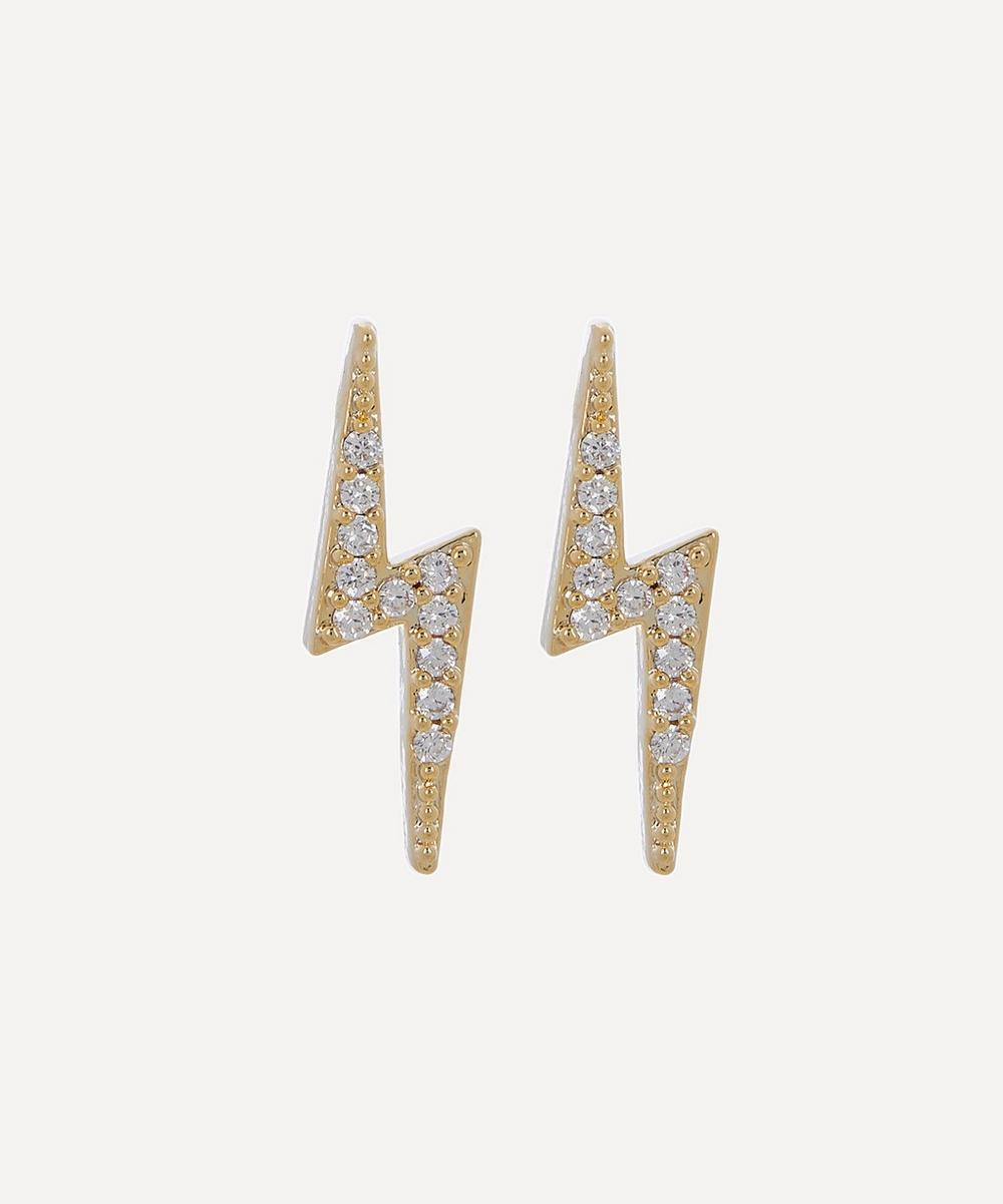 Estella Bartlett - Gold-Plated Cubic Zirconia Lightning Bolt Stud Earrings