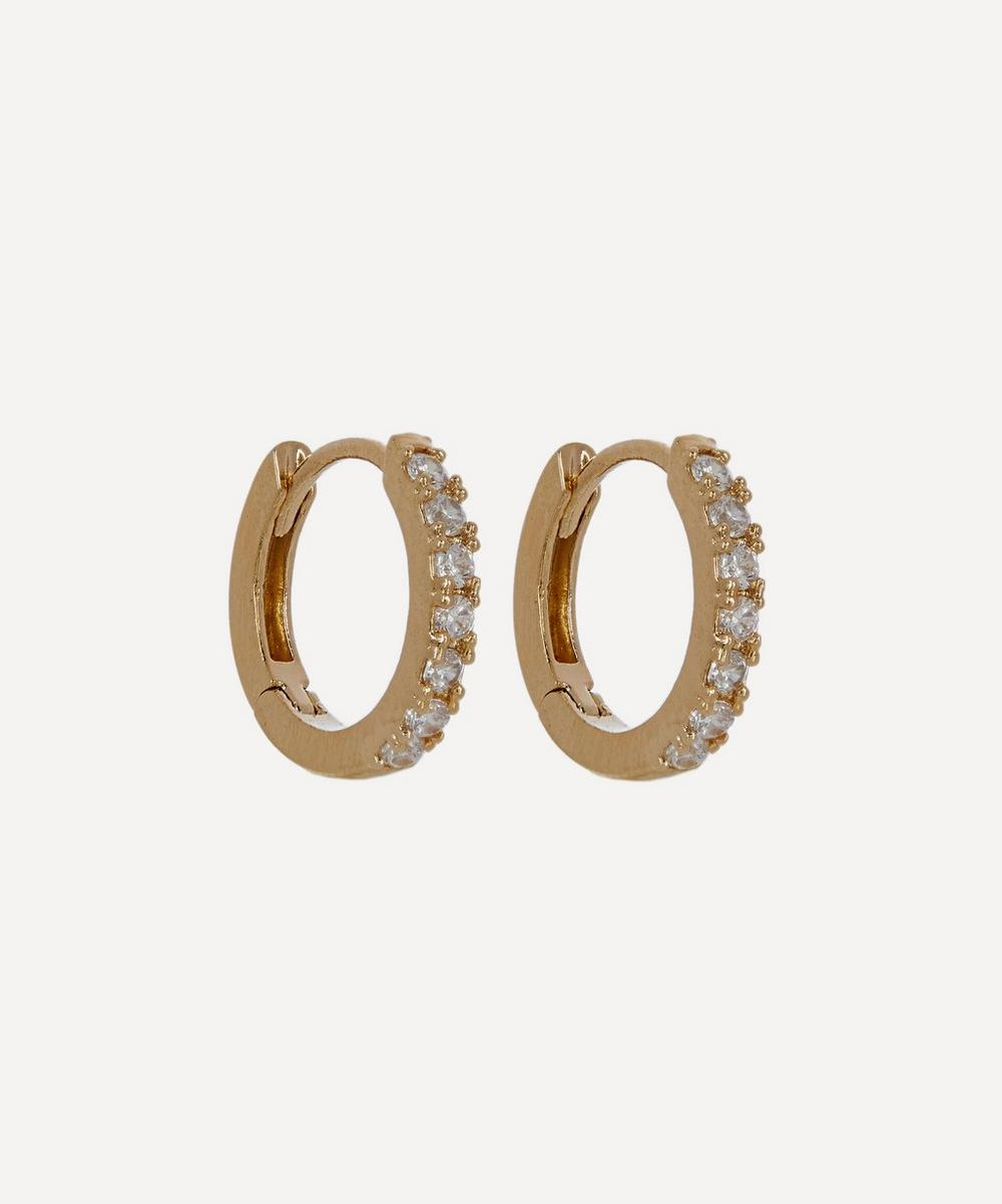 Estella Bartlett - Gold-Plated Pavé Set Cubic Zirconia Huggie Hoop Earrings