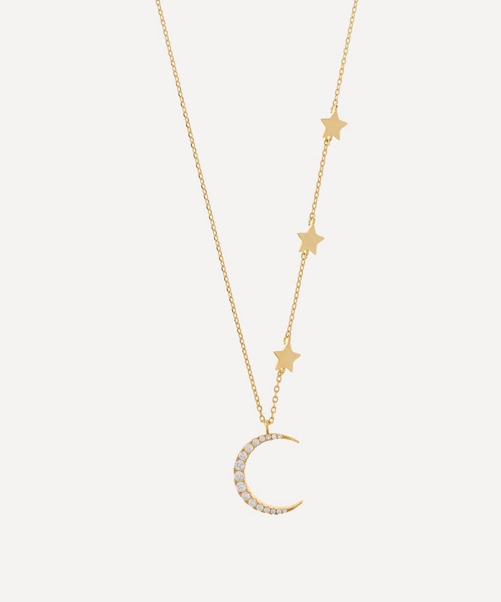 Estella Bartlett - Gold-Plated Moon and Stars Cubic Zirconia Statement Necklace