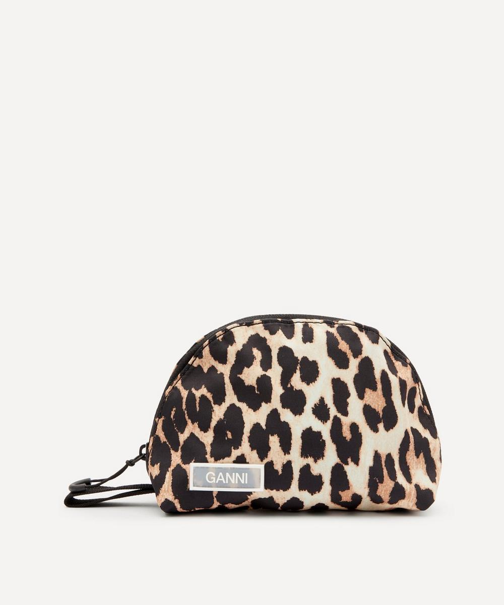 Ganni - Small Leopard Print Tech Fabric Toiletry Bag