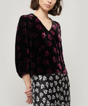 Millie V-Neck Floral Print Velvet Top