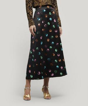 Kelly Sequin Polka-Dot Slip Skirt
