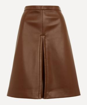 Runway Faux-Leather Midi-Skirt