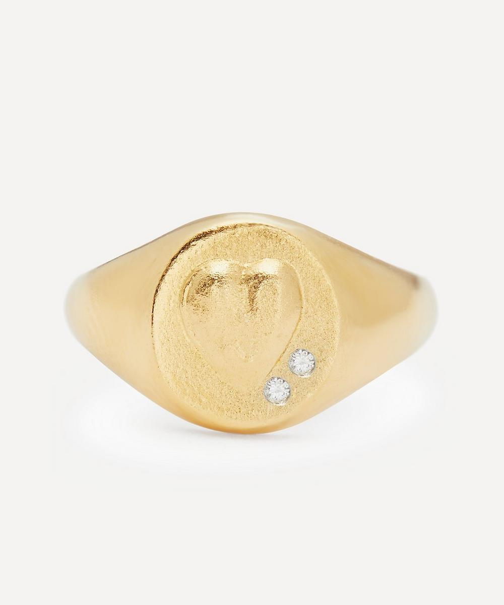 Alex Monroe - Gold-Plated Heart Signet Ring