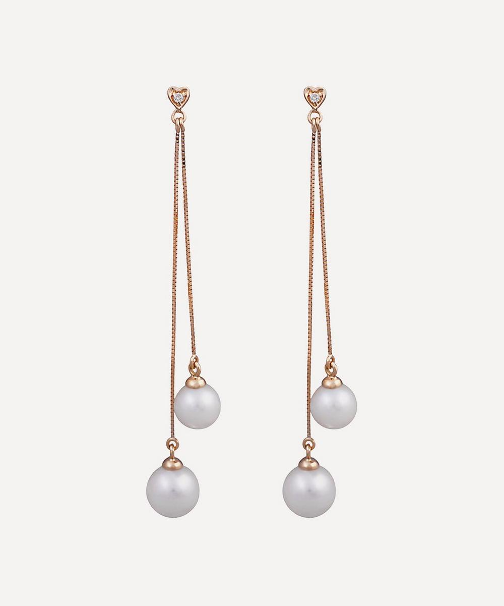 Kojis - Gold Diamond and Pearl Double Drop Earrings