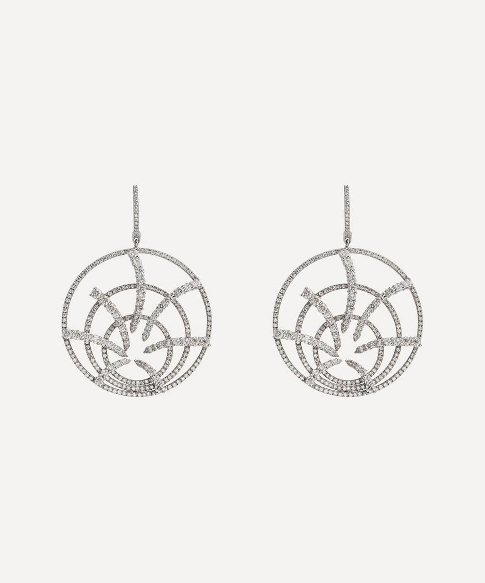 Kojis - White Gold Diamond Cluster Firework Drop Earrings