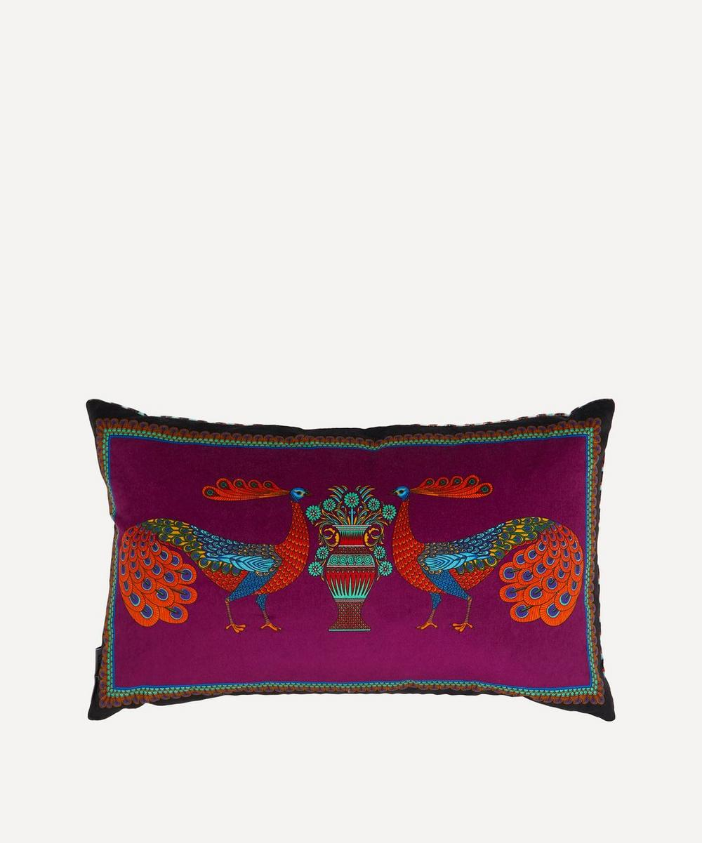 Liberty - Peacock Garden Rectangular Velvet Cushion