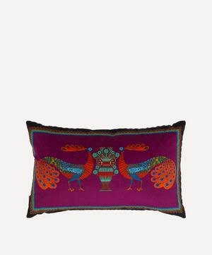 Peacock Garden Rectangular Velvet Cushion