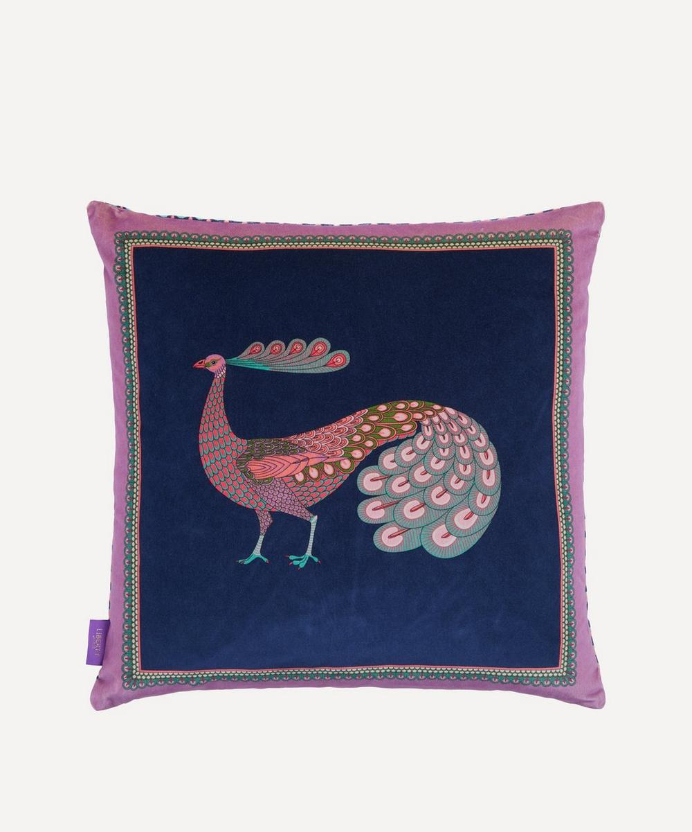 Liberty - Peacock Garden Square Velvet Cushion