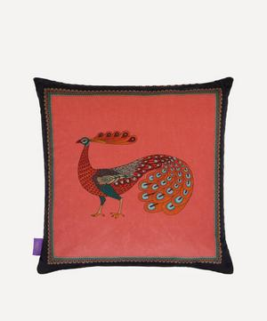 Peacock Garden Square Velvet Cushion
