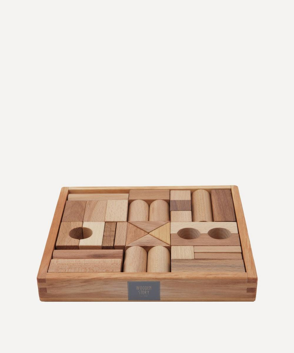 Wooden Story - Natural Wooden Blocks In Tray