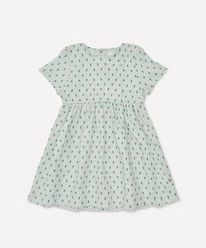 Short-Sleeved Leek Print Dress 4-8 Years