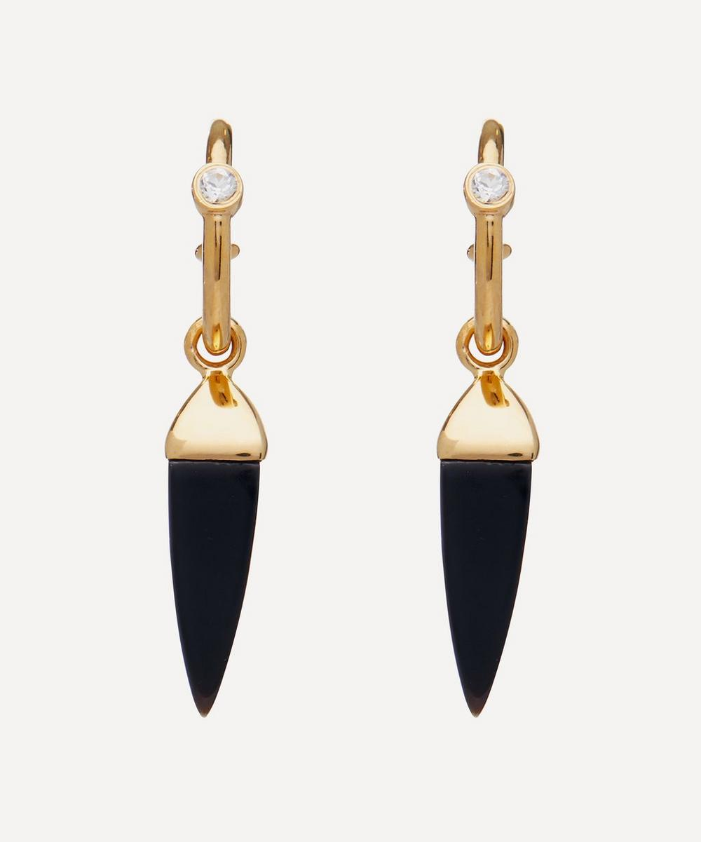 Theodora Warre - Gold-Plated Black Onyx and White Topaz Spike Hoop Earrings