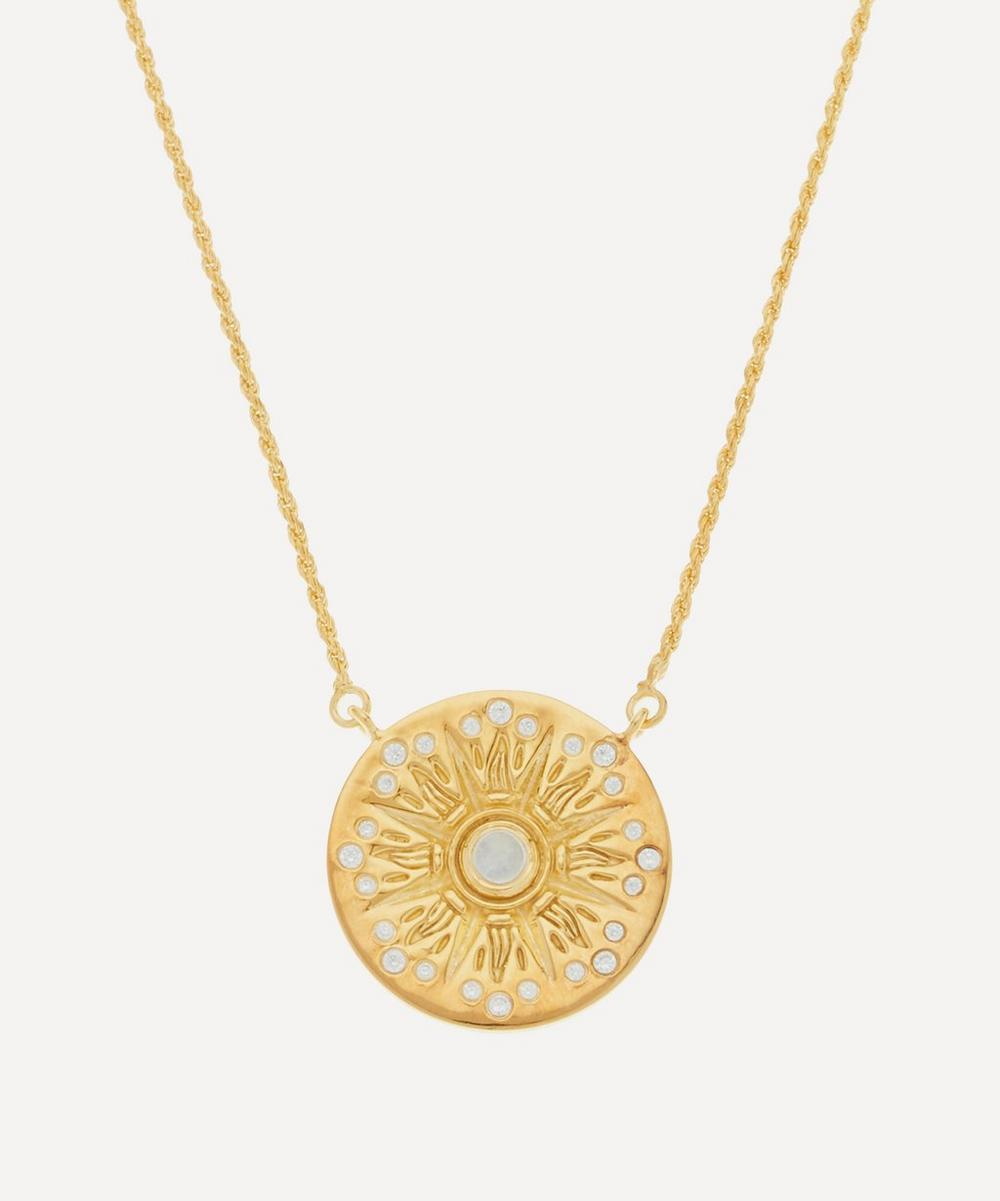 Theodora Warre - Gold-Plated Rainbow Moonstone and White Zircon Compass Pendant Necklace