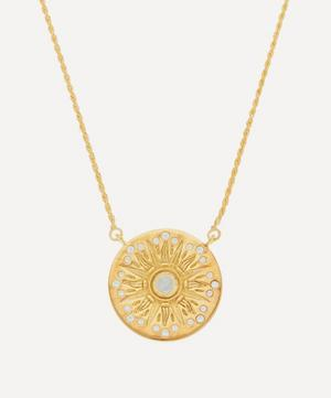 Gold-Plated Rainbow Moonstone and White Zircon Compass Pendant Necklace