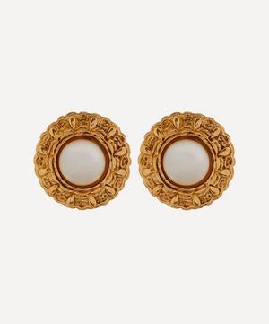 1990s Chanel Gilt Faux Pearl Clip-On Earrings