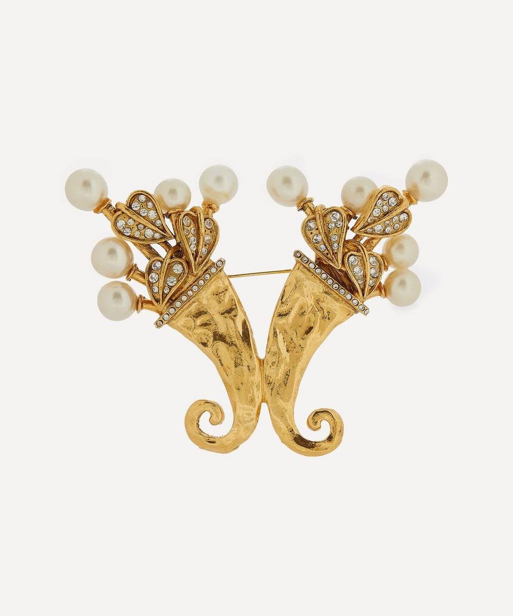 Designer Vintage - 1980s Chanel Faux Pearl and Diamond Cornucopia Brooch