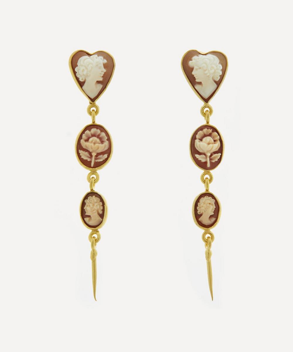 Grainne Morton - Gold-Plated Three Cameo Victorian Drop Earrings