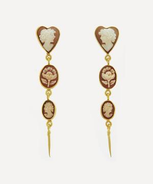 Gold-Plated Three Cameo Victorian Drop Earrings