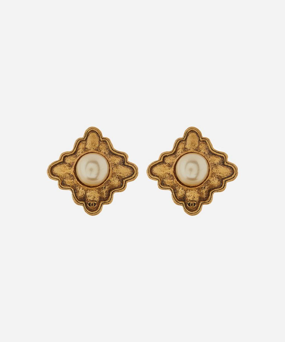 Designer Vintage - 1980s Chanel Gilt Faux Pearl Dome Clip-On Earrings