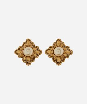 1980s Chanel Gilt Faux Pearl Dome Clip-On Earrings