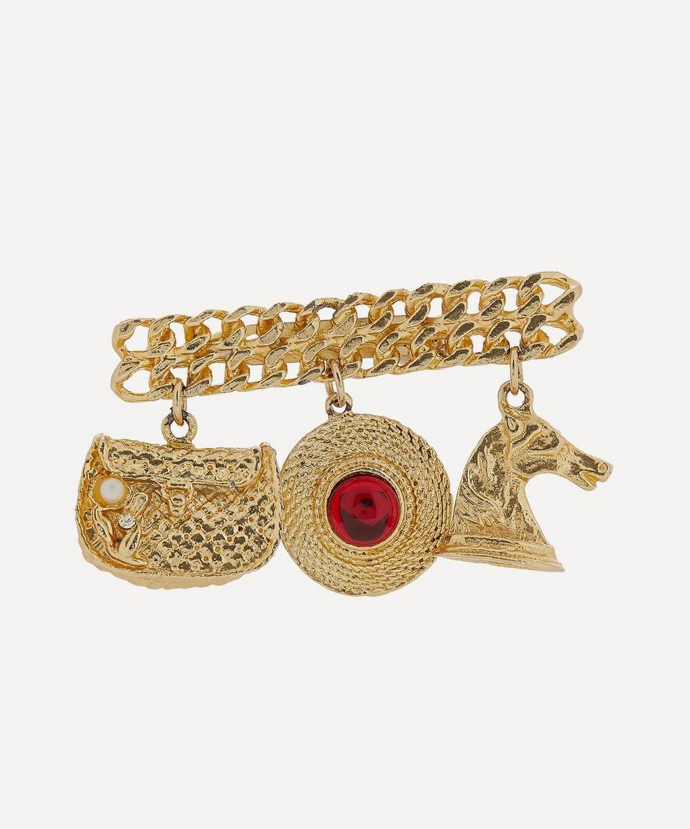 Designer Vintage - 1980s Gilt Faux Ruby Charm Brooch