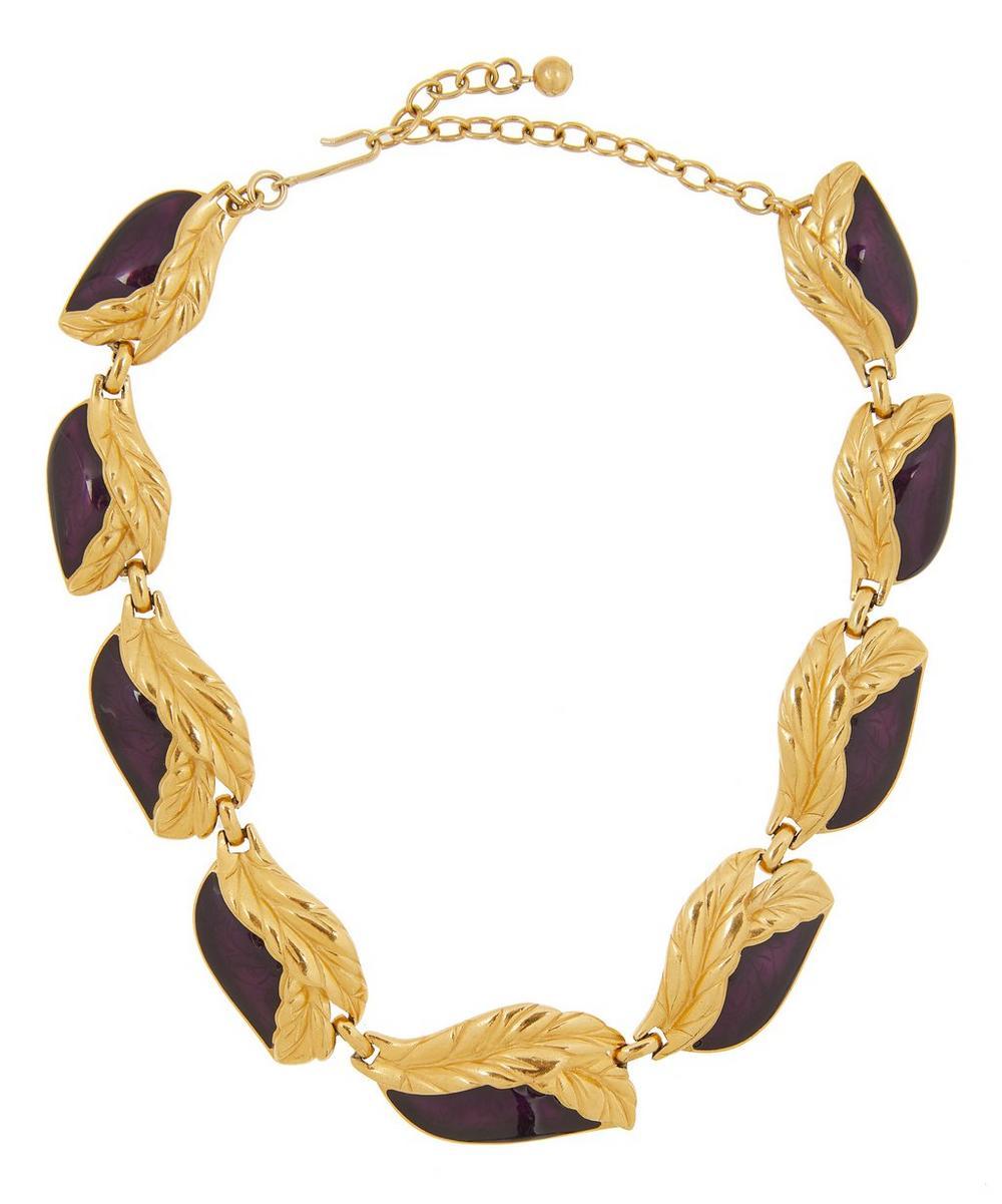 Designer Vintage - 1950s Trifari Gilt Enamel Foliage Necklace