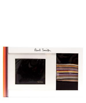 Signature Stripe Wallet and Socks Gift Set