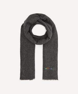 Logo Embroidered Wool-Blend Scarf