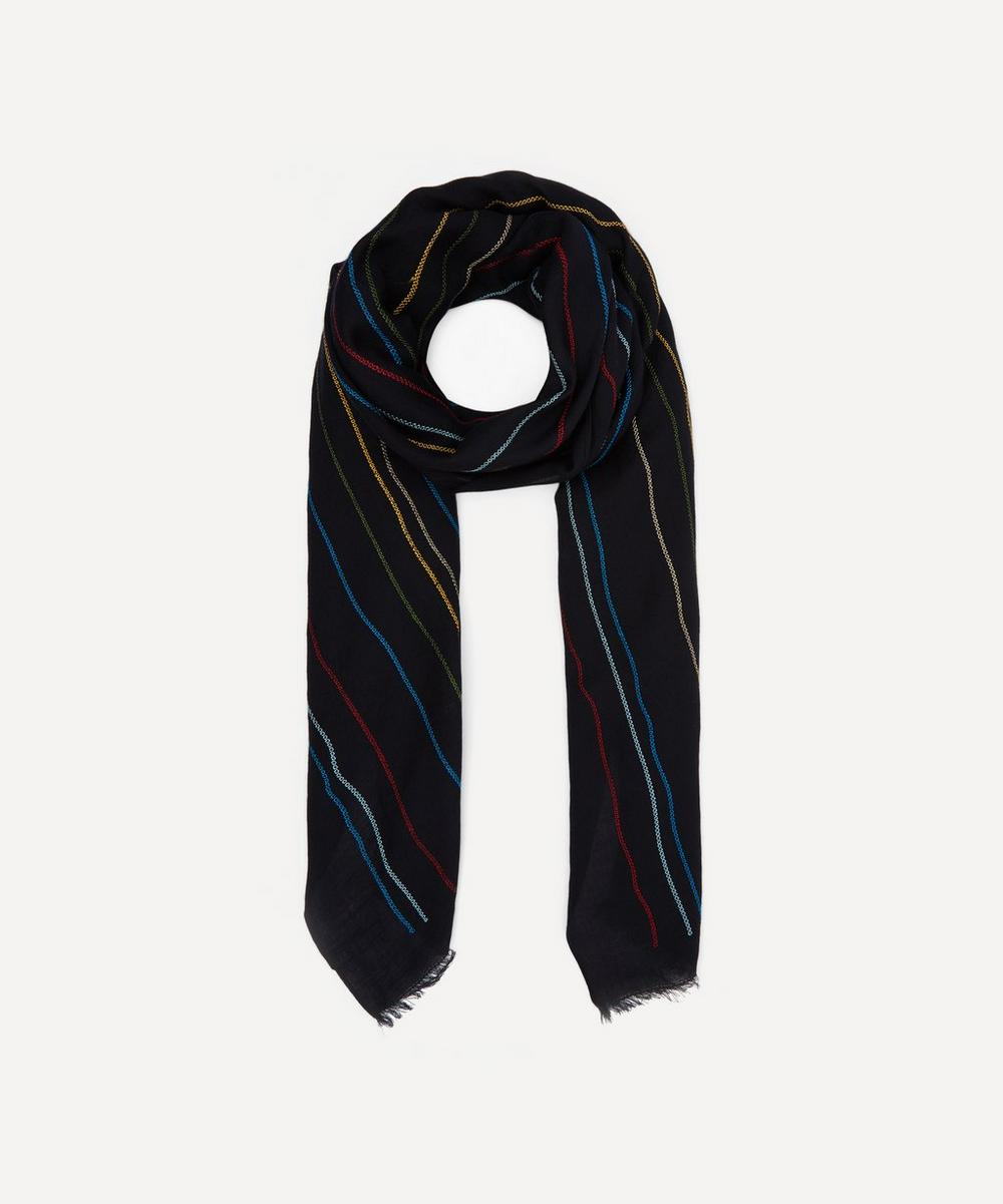Paul Smith - Embroidered Chain Stitch Wool Scarf