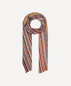 Striped Polka-Dot Cotton-Blend Scarf