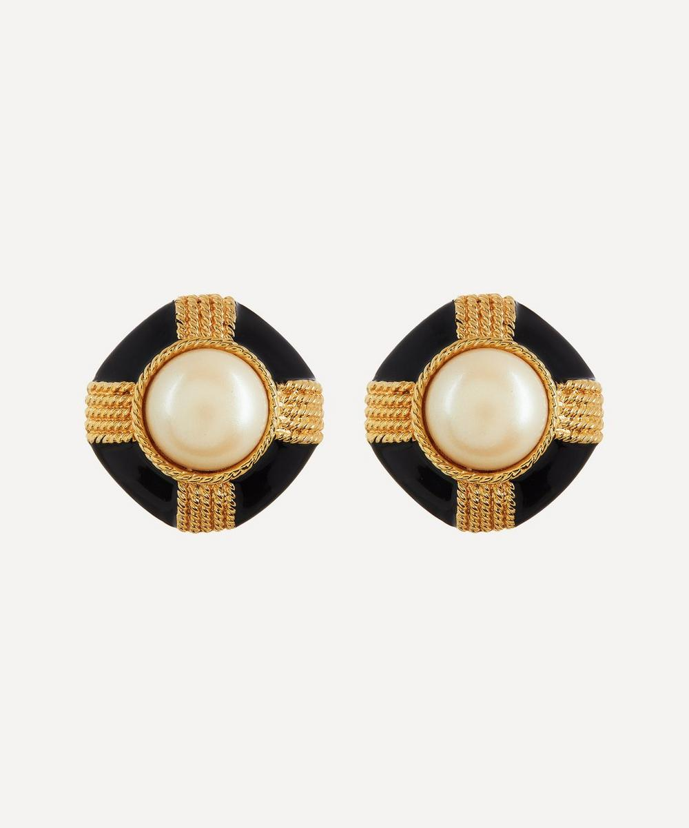 Designer Vintage - 1980s Gilt Faux Pearl and Black Lacquer Clip-On Earrings
