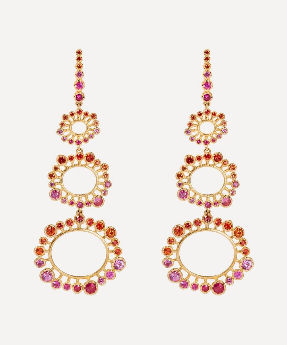 Annoushka - 18ct Gold Hidden Reef Sapphire Chandelier Earrings