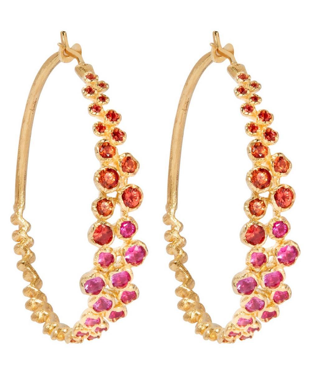 Annoushka - 18ct Gold Hidden Reef Large Sapphire Hoop Earrings