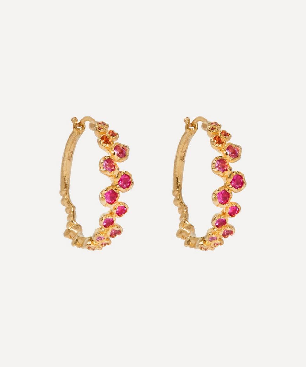 Annoushka - 18ct Gold Hidden Reef Sapphire Hoop Earrings