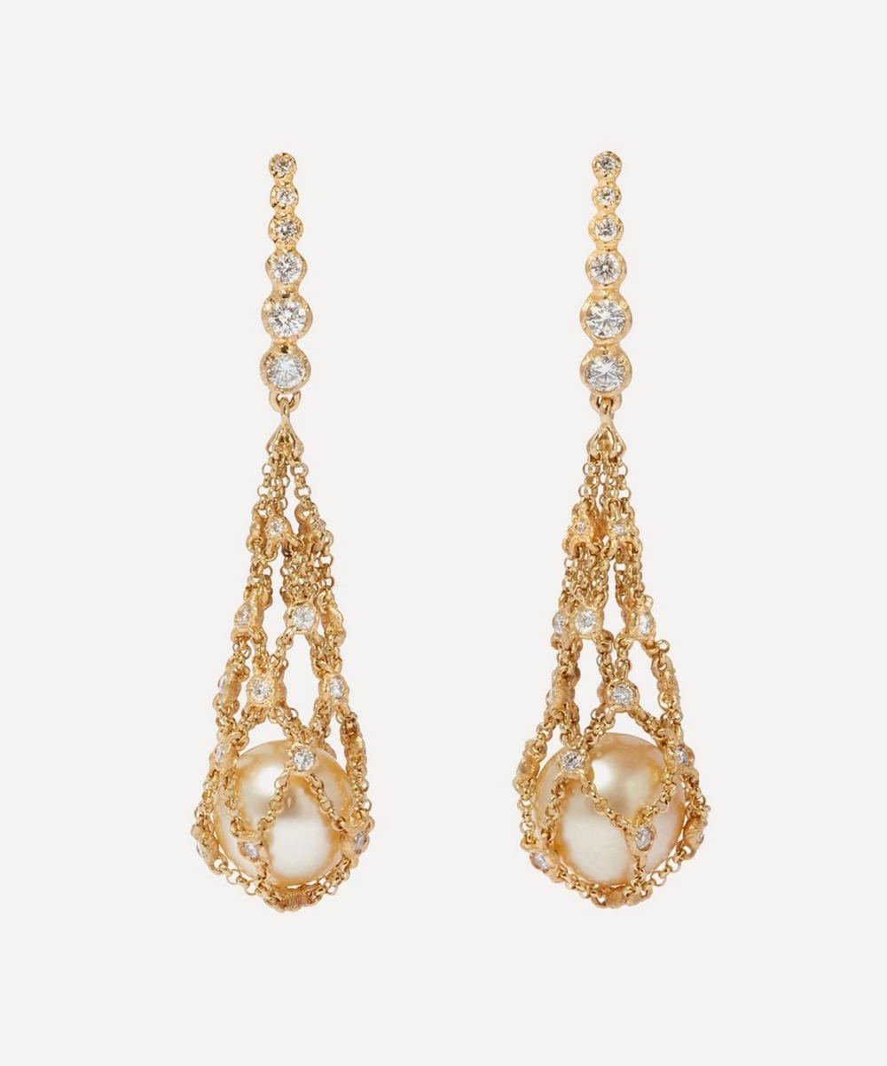 Annoushka - 18ct Gold Lattice Pearl and Diamond Net Drop Earrings