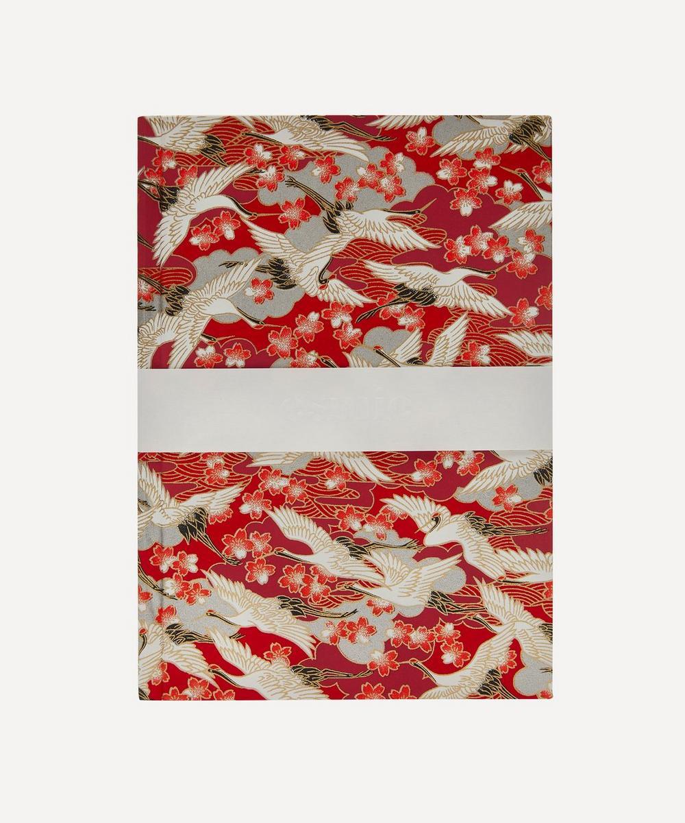 Esmie - Medium Red Blossom Cranes Notebook