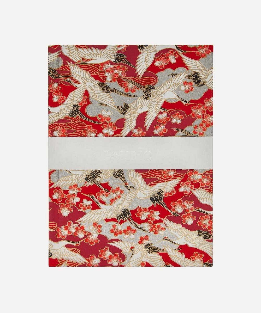 Esmie - Small Red Blossom Cranes Notebook