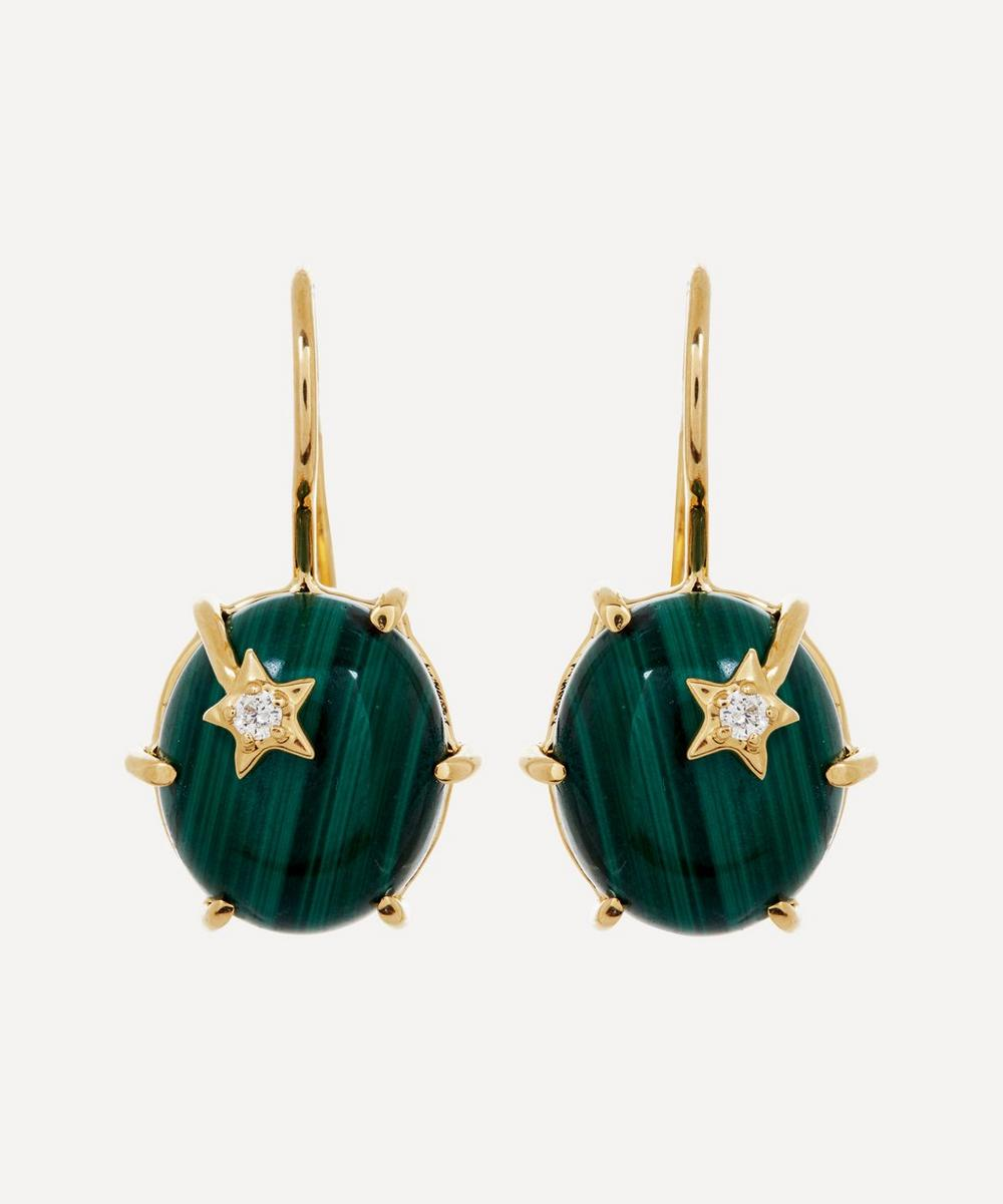 Andrea Fohrman - Gold Mini Galaxy Malachite and Diamond Star Drop Earrings